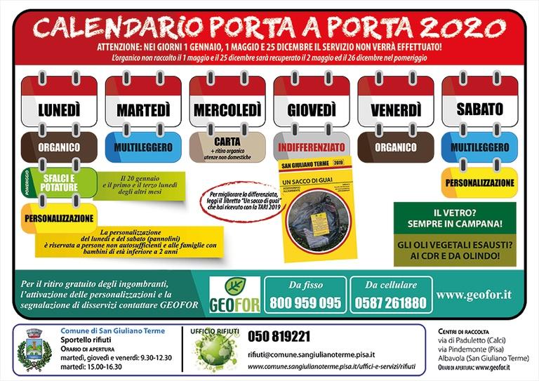 Raccolta dei rifiuti porta a porta, pubblicato il calendario 2020